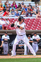 Wisconsin Timber Rattlers outfielder Tristen Lutz (21) at bat during a Midwest League game against the Lansing Lugnuts on May 8, 2018 at Fox Cities Stadium in Appleton, Wisconsin. Lansing defeated Wisconsin 11-4. (Brad Krause/Four Seam Images)