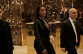 Trump advisor Omarosa Manigault, center, walks through the lobby of Trump Tower, in New York, New York, USA, 02 January 2017. <br /> Credit: Peter Foley / Pool via CNP