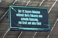 FUSSBALL   1. BUNDESLIGA  SAISON 2012/2013   7. Spieltag FC Bayern Muenchen - TSG Hoffenheim    06.10.2012 In der Allianz Arena auf der Anzeigentafel steht, Der FCB wuenscht Boris Vukcevic eine schnelle Genesung, viel Kraft und alles Gute !