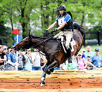 LEXINGTON, KENTUCKY - APRIL 29: Parker #2, with rider James Alliston (GBR), unsuccessfully clear an obstacle during the Cross Country Test at the Rolex Kentucky 3-Day Event at the Kentucky Horse Park on April 29, 2017 in Lexington, Kentucky. (Photo by Scott Serio/Eclipse Sportswire/Getty Images)
