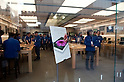 March 16, 2012, Tokyo, Japan - Apple Store staff are preparing to receive clients who remain outside waiting. .Fans lined up overnight outside the Apple store in Ginza, to buy the new iPad. Japan was one of the first countries where Apple fans could get their hands on the new iPad.