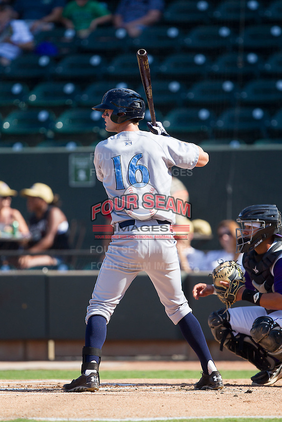 Bubba Starling (16) of the Wilmington Blue Rocks at bat against the Winston-Salem Dash at BB&T Ballpark on July 6, 2014 in Winston-Salem, North Carolina.  The Dash defeated the Blue Rocks 7-1.   (Brian Westerholt/Four Seam Images)
