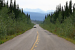 THE DEMPSTER HIGHWAY, YUKON, CANADA.  LONG ROAD FROM DAWSON CITY TO INUVIK.