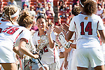 Los Angeles, CA 04/22/16 - Gabby McMahon (USC #32) in action during the NCAA Stanford-USC Division 1 women lacrosse game at the Los Angeles Memorial Coliseum.  USC defeated Stanford 10-9/