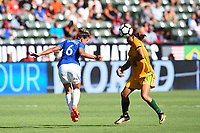 Carson, CA - Thursday August 03, 2017: Tamires, Sam Kerr during a 2017 Tournament of Nations match between the women's national teams of Australia (AUS) and Brazil (BRA) at the StubHub Center.