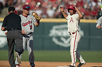 NWA Democrat-Gazette/BEN GOFF @NWABENGOFF<br /> Dominic Fletcher, Arkansas center fielder, reacts after being picked off by Justin Row, South Carolina second baseman, on a steal attempt in the 2nd inning Saturday, June 9, 2018, during game one of the NCAA Super Regional at Baum Stadium in Fayetteville.
