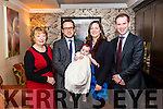 Grainne Corcoran from Longford and Danny Corcoran from Killarney who are living in Dublin celebrated christening of their daughter Lilly surrounded by friends and family in the the Lord Kenmare Restaurant, Killarney last Saturday evening. Pictured with God Parents Teresa Hannon and David Corcoran.
