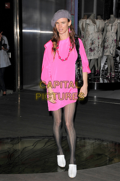 "JULIETTE LEWIS.Prada's Private Screening of the new Animated Short Fil ""Trembled Blossoms"" held at Prafa Beverly Hills Epicenter in Beverly Hills, California, USA..March 19th, 2008.full length pink fluorescent dress necklace black tights pattern fishnet bag purse white shoes grey gray beret hat .CAP/DVS.©Debbie VanStory/Capital Pictures."