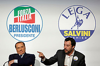 Berlusconi e Matteo Salvini <br /> Roma 01/03/2018. Incontro dei leader della coalizione di centrodestra.<br /> Rome March 01st 2018. Meeting of the leaders of the centre-right coalition at the next political elections in Italy, that will take place on March 4th. <br /> Foto Samantha Zucchi Insidefoto
