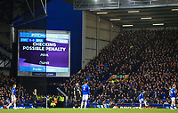 11th January 2020; Goodison Park, Liverpool, Merseyside, England; English Premier League Football, Everton versus Brighton and Hove Albion; play is held up while a VAR decision is made after Theo Walcott of Everton is brought down in the Brighton penalty area - Strictly Editorial Use Only. No use with unauthorized audio, video, data, fixture lists, club/league logos or 'live' services. Online in-match use limited to 120 images, no video emulation. No use in betting, games or single club/league/player publications