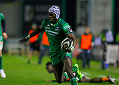 4th November 2017, Galway Sportsground, Galway, Ireland; Guinness Pro14 rugby, Connacht versus Cheetahs; Connacht try scorer Niyi Adeolokunr