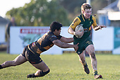 Josh Baverstock attempts to break past Pat Masoe. Counties Manukau Premier Club Rugby game between Bombay and Pukekohe, played at Bombay on Saturday June 30th 2018.<br /> Bombay won the game 24 - 14 after leading 24 - 0 at halftime.<br /> Bombay 24 - Sepuloni Taufa, Tulele Masoe, Chay Mackwood, Liam Daniela tries, Ki Anufe 2 conversions.<br /> Pukekohe Mitre 10 Mega 14 - Joshua Baverstock, Gregor Christie tries; Cody White 2 conversions.<br /> Photo by Richard Spranger.