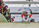 9 January 2016: Matthias Guggenberger, competing for Austria, pushes off for his first run start of the BMW IBSF World Cup Skeleton race at the Olympic Sports Track in Lake Placid, New York, USA. Guggenberger ended the day with a combined 2-run time of 1:50.97 and a 13th place overall finish. Mandatory Credit: Ed Wolfstein Photo *** RAW (NEF) Image File Available ***