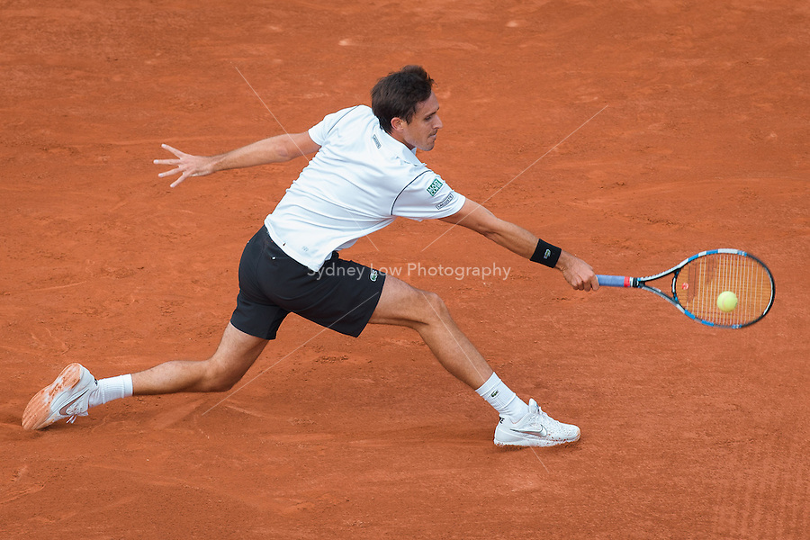 May 25, 2015: Edouard Roger-Vasselin (FRA) in action in a 1st round match against Gael Monfils (FRA) on day two of the 2015 French Open tennis tournament at Roland Garros in Paris, France. Sydney Low/AsteriskImages