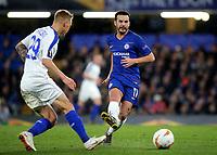 Pedro of Chelsea passes the ball upfield during Chelsea vs Dynamo Kiev, UEFA Europa League Football at Stamford Bridge on 7th March 2019