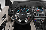 Car pictures of steering wheel view of a 2016 Ford Transit Connect Titanium 5 Door Mini Mpv Steering Wheel
