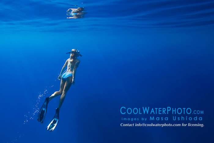 Woman snorkeling, Kealakekua Bay, Big Island, Hawaii, Pacific Ocean.