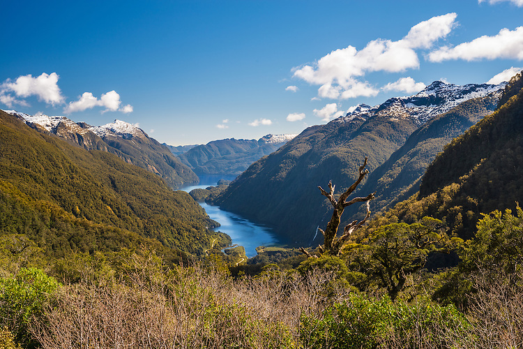Doubtful Sound viewed from the Summit of Wilmot Pass, Fiordland. South Island, New Zealand - stock photo, canvas, fine art print