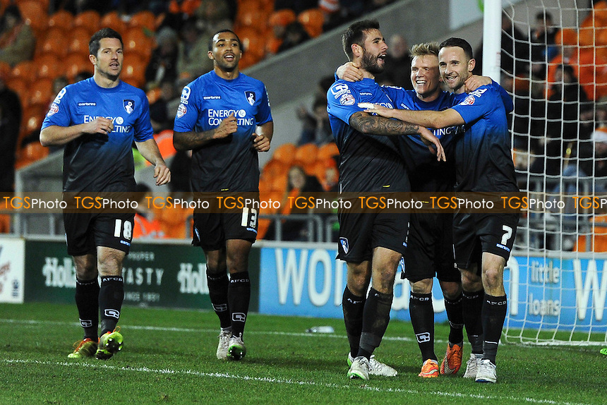 Marc Pugh (right) of Bournemouth celebrates his goal and Bournemouth's fifth - Blackpool vs AFC Bournemouth - Sky Bet Championship Football at Bloomfield Road, Blackpool, Lancashire - 20/12/14 - MANDATORY CREDIT: Greig Bertram/TGSPHOTO - Self billing applies where appropriate - contact@tgsphoto.co.uk - NO UNPAID USE