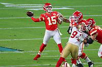 2nd February 2020, Miami Gardens, Florida, USA;   Kansas City Chiefs Quarterback Patrick Mahomes (15) throws down field during the second quarter of Super Bowl LIV on February 2, 2020 at Hard Rock Stadium in Miami Gardens
