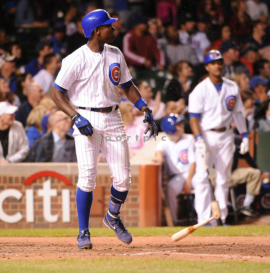 Chicago Cubs Alfonso Soriano (12) in action during a game against the Cincinnati Reds on September 19, 2012 at Wrigley Field in Chicago, IL. The Reds beat the Cubs 6-5.
