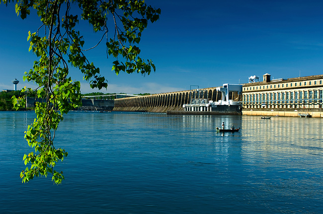 The historic Wilson Dam on the Tennessee River is a National Historic Landmark.  The dam was built in 1918 by the Tennessee River Valley Authority and is on Muscle Shoals in Florence, Alabama.