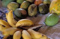 Banana bunches for sale at a market at Port Vila, Efate, Vanuatu.