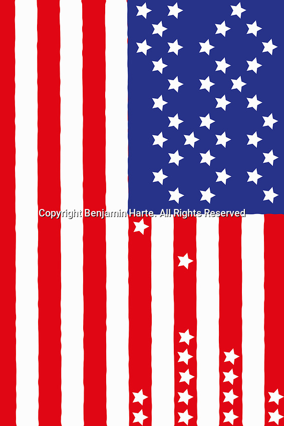 Stars falling from American flag