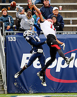 University of Connecticut starting cornerback Jasper Howard plays against Lousiville Saturday in East Hartford, CT.  He was stabbed and killed later that same night.
