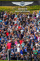Adam Scott (AUS) Salutes the crowd on 18 during the final round of the The Genesis Invitational, Riviera Country Club, Pacific Palisades, Los Angeles, USA. 16/02/2020<br /> Picture: Golffile | Phil Inglis<br /> <br /> <br /> All photo usage must carry mandatory copyright credit (© Golffile | Phil Inglis)