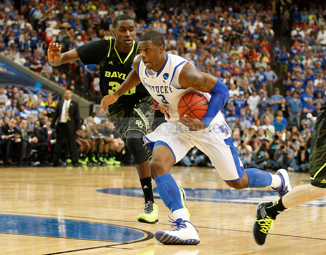 Quincy Miller guards Terrence Jones in the second half of the south region final between the University of Kentucky and Baylor University in the NCAA Tournament, in the Georgia Dome, on Sunday, March 25, 2012 in Atlanta, Ga. Kentucky defeated Baylor 82-70.  Photo by Latara Appleby | Staff. ..