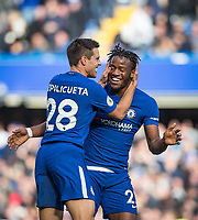 Cesar Azpilicueta of Chelsea celebrates his goal with scorer of 2 goals Michy Batshuayi of Chelsea during the Premier League match between Chelsea and Watford at Stamford Bridge, London, England on 21 October 2017. Photo by Andy Rowland.