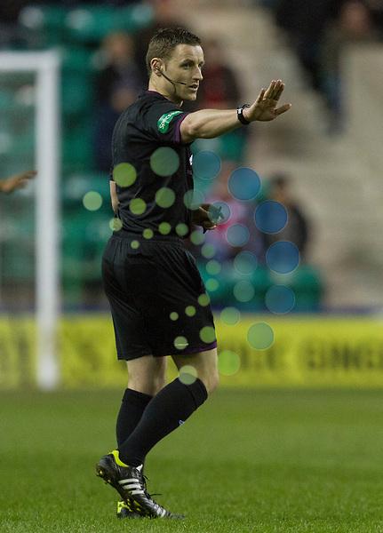 Hibernian v Aberdeen SPL season 2012-2013 ..Referee Steven McLean during the Clydesdale Bank Premier League match between Hibernian and Aberdeen at Easter Road Stadium on Monday 22 April 2013...Picture: Alan Rennie/Universal News & Sport.