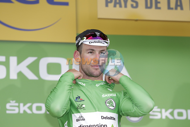 Mark Cavendish (GBR) Dimension Data wins and retains the points Green Jersey at the end of Stage 3 of the 2016 Tour de France, running 223.5km from Granville to Angers, France . 4th July 2016.<br /> Picture: Eoin Clarke   Newsfile<br /> <br /> <br /> All photos usage must carry mandatory copyright credit (&copy; Newsfile   Eoin Clarke)