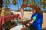 Local fisherman pulls out fresh red snapper, or chillo, to cook on Playa Bonito for tourists, Samana, Dominican Republic
