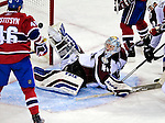 15 October 2009: Colorado Avalanche goaltender goaltender Craig Anderson makes a third period save in the dying seconds of play against the Montreal Canadiens at the Bell Centre in Montreal, Quebec, Canada. The Avalanche edged out the Habs 3-2 in Montreal's home opening game. Mandatory Credit: Ed Wolfstein Photo