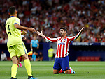 Atletico de Madrid's Alvaro Morata during La Liga match. Aug 18, 2019. (ALTERPHOTOS/Manu R.B.)Atletico de Madrid's Alvaro Morata reacts during the Spanish La Liga match between Atletico de Madrid and Getafe CF at Wanda Metropolitano Stadium in Madrid, Spain