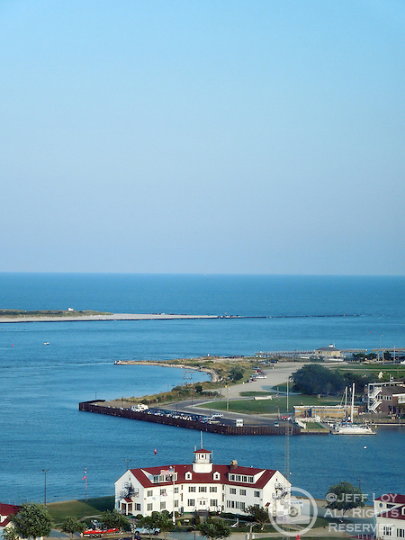 Looking past the Coast Guard office (bottom, foreground) into the Atlantic Ocean from Atlantic City, New Jersey.