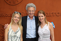 Nelson Monfort, his daughter Victoria and his wife Dominique seen at 'Le Village de Roland Garros during Roland Garros tennis open 2016 on may 28 2016.