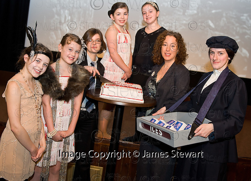 Festival Producer, Shona Thomson and Festival Director, Alison Strauss are joined by pupils from Bo'ness Public Primary School at the launch of the 2012 Hippodrome Festival of Silent Cinema.