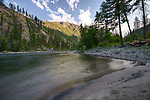 Idaho, Central, Selway-Bitterroot Wilderness Area. The main Salmon in mid July at sunset.