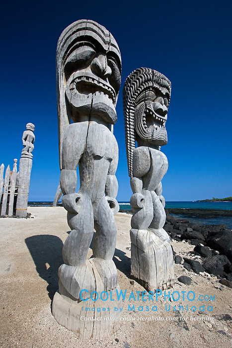 Traditional Hawaiian Tiki wood carvings, Pu`uhonua o Honaunau or Place of Refuge National Historical Park, Honaunau, Big Island, Hawaii