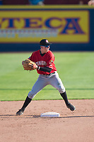 Vancouver Canadians second baseman Nick Podkul (6) prepares to make a throw to first base for a double play during a Northwest League game against the Spokane Indians at Avista Stadium on September 2, 2018 in Spokane, Washington. The Spokane Indians defeated the Vancouver Canadians by a score of 3-1. (Zachary Lucy/Four Seam Images)