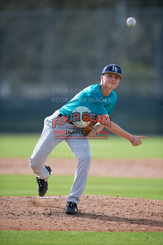 Kyle Lawyer (64) of Sprakers, New York during the Baseball Factory Pirate City Christmas Camp & Tournament on December 28, 2018 at Pirate City in Bradenton, Florida. (Mike Janes/Four Seam Images)