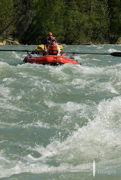 Kirsten Olsen and Nick Lynch float the rapids on the upper Kenai River canyon.