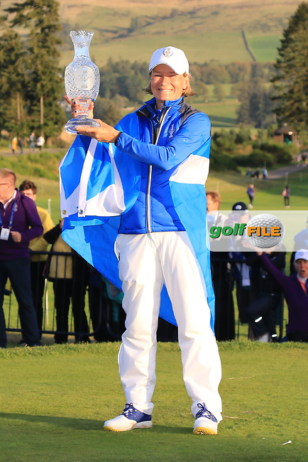Catriona Matthews Captain of The European Team and winners of the Solheim Cup 2019 at Gleneagles Golf CLub, Auchterarder, Perthshire, Scotland. 15/09/2019.<br /> Picture Thos Caffrey / Golffile.ie<br /> <br /> All photo usage must carry mandatory copyright credit (© Golffile | Thos Caffrey)