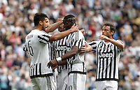 Calcio, Serie A: Juventus vs Palermo. Torino, Juventus Stadium, 17 aprile 2016.<br /> Juventus&rsquo; Sami Khedira, left, celebrates with teammates after scoring during the Italian Serie A football match between Juventus and Palermo at Turin's Juventus Stadium, 17 April 2016.<br /> UPDATE IMAGES PRESS/Isabella Bonotto