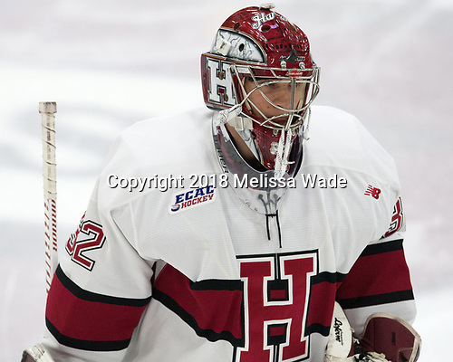 Cameron Gornet (Harvard - 32) - The visiting Colgate University Raiders shut out the Harvard University Crimson for a 2-0 win on Saturday, January 27, 2018, at Bright-Landry Hockey Center in Boston, Massachusetts.