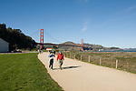 San Francisco, California, Enjoying Crissy Field east of the Golden Gate Bridge along the Golden Gate Promenade.  Photo copyright Lee Foster.  Photo # 1-casanf76369.