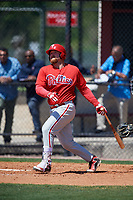 Philadelphia Phillies Quincy Nieporte (33) during a Minor League Spring Training game against the Pittsburgh Pirates on March 23, 2018 at the Carpenter Complex in Clearwater, Florida.  (Mike Janes/Four Seam Images)